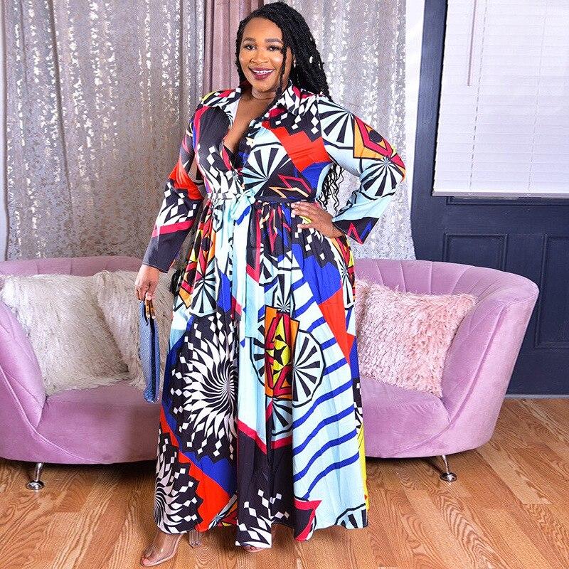 Women Ladies Plus Size Geometric Print Autumn Long Sleeve Loose Tunic Dress