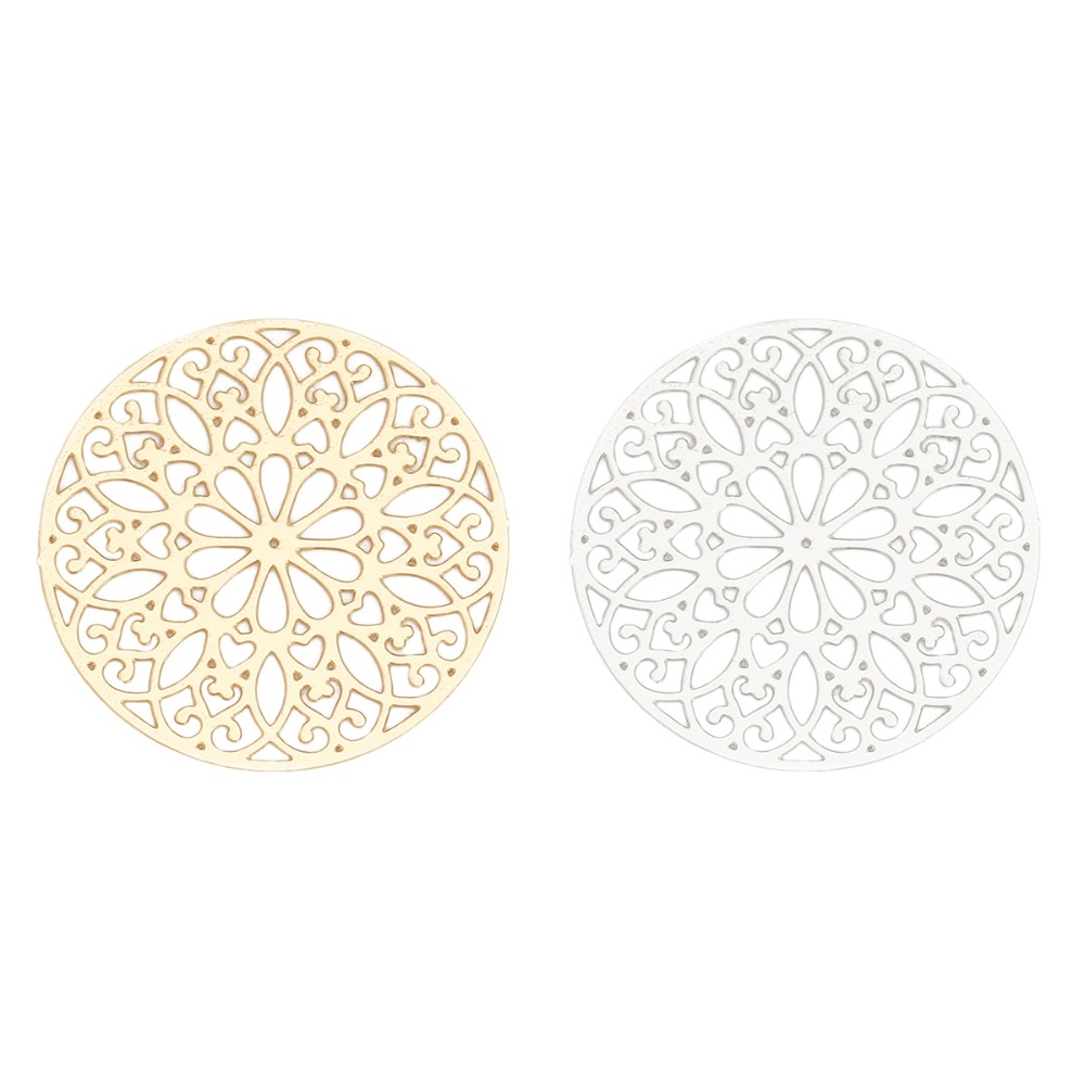 DoreenBeads Fashion Iron Based Alloy Filigree Stamping Connectors Round Silver Color Gold Flower DIY Charms 25mm Dia, 10 PCs