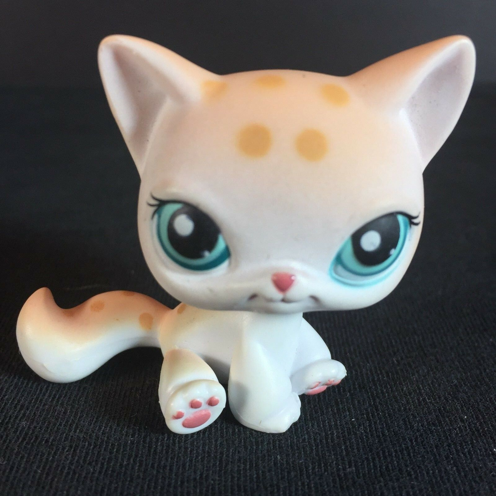 Old Original Pet Shop Lps Toys SIAMESE Cat #224 Spotted White Tan Leopard Kitty Cute Green Eyes Kitten For Girls Collection