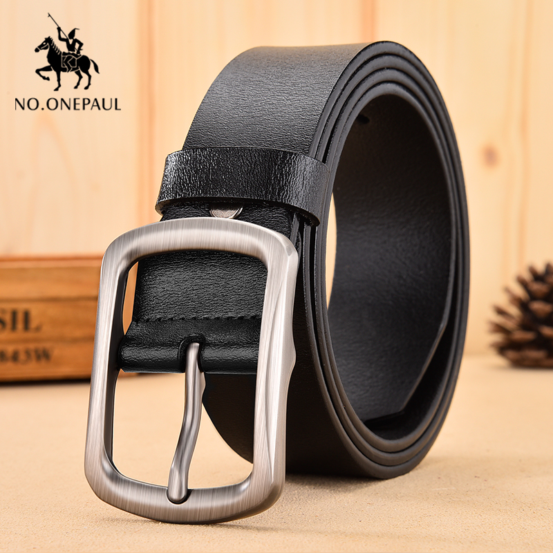 NO.ONEPAUL Black Buckle men Jeans Belt Genuine Leather For Men waist belt Cowskin Casual Belts Business Belt Cowboy belts title=