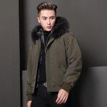 Новинка, подкладка из натурального кроличьего меха, отстегивающееся пальто для мужчин, Воротник из натурального Лисьего меха, парка с капюшоном, зимняя теплая Модная Мужская одежда