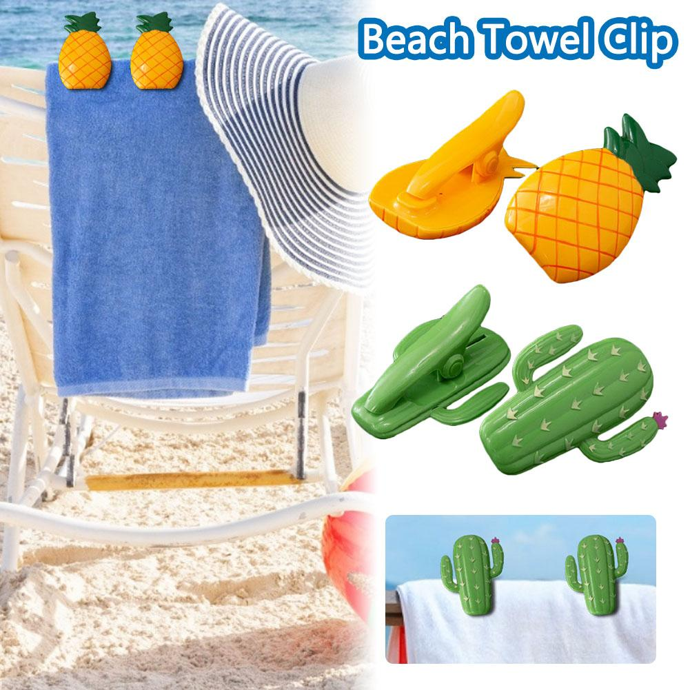 Beach Towel Clip Pineapple Cactus Shaped Beach Quilt Clips Plastic Clothes Strong Clip For Travel