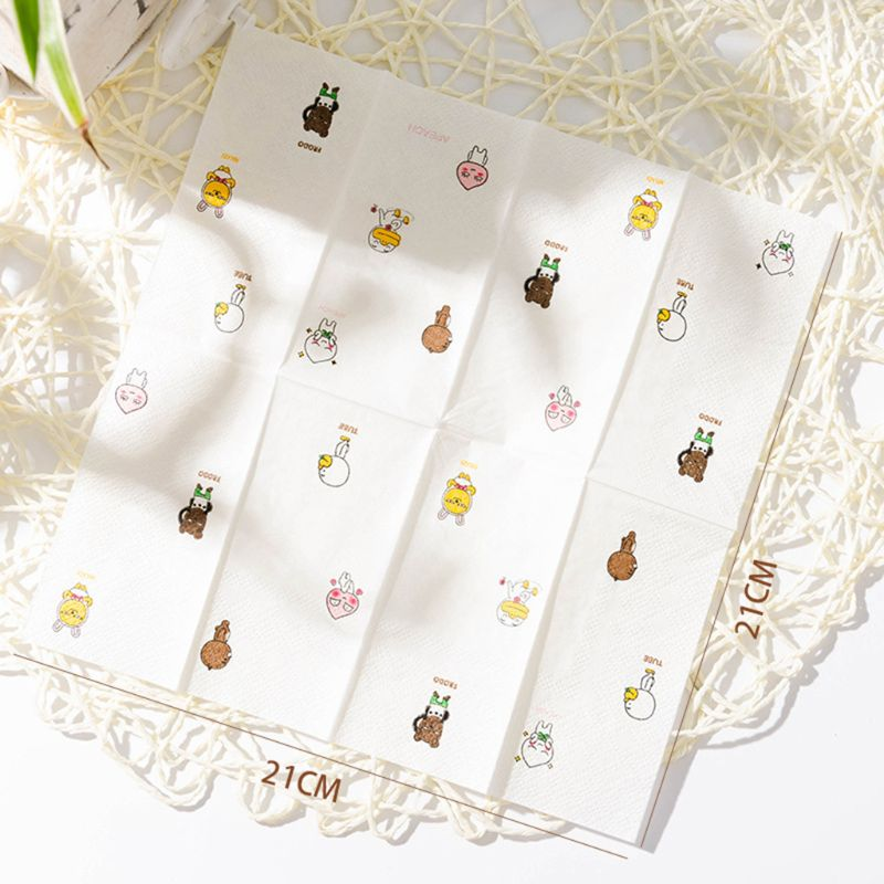 12 Packs Cartoon Napkin Paper Pattern 3-Ply Wood Pulp Facial Tissue Handkerchief GXMC
