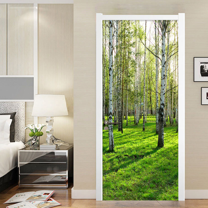Modern 3D Birch Forest Door Sticker PVC Self-Adhesive Wallpaper Living Room Bedroom Home Decor Decal Vinyl Murals Wall Stickers