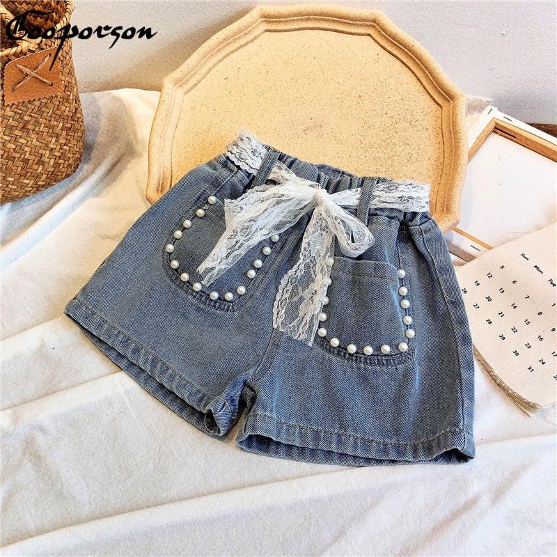 Gooporson Summer Fashion Little Girls Jeans Pearl Pocket Lace Denim Shorts Korean Cute Kids Clothes 3-7years Chilren Costume 1
