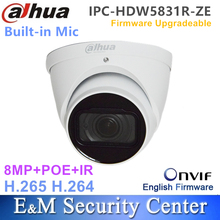 Original dahua IPC HDW5831R ZE English with logo 8MP IR Eyeball Network Camera POE CCTV Built in Mic IP67