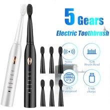 Brosse à dents électrique à ultrasons, rechargeable, lavable, pour adulte,avec minuteur, effet blanchissant,