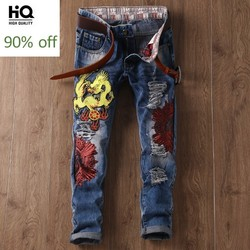 2020 Spring Male Fashion Embroidery Straight Slim Fit Cowboy Pants Man Hole Ripped Jeans For Men Streetwear Biker Trousers Mens