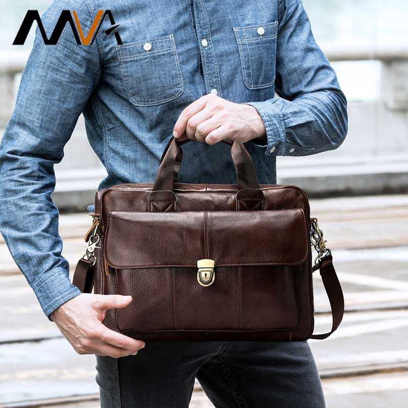 MVA Men's Briefcase Genuine Leather Laptp Bag Men's Office Bag For Men Leather Handbags Men Messenger  Bag For Documents 315
