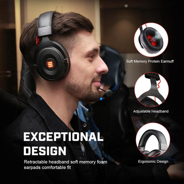 EKSA Gaming Headset with Virtual 7.1 Surround Wired Gamer Headphones With Noise Cancelling Mic For PC/Xbox/PS4 3