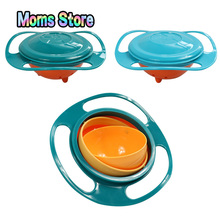 Gyro Bowl Design Children Rotary Balance Novelty Gyro Spill-Proof Solid Feeding silicone plates Dishes baby products feeding