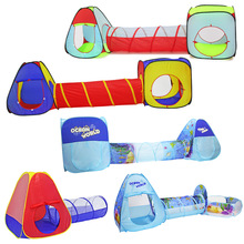 3 In 1 Children Indoor Outdoor Crawling Folding Game House Polka Dot Tunnel Shooting Marine Ball Pool Toys Kids Tent Gifts