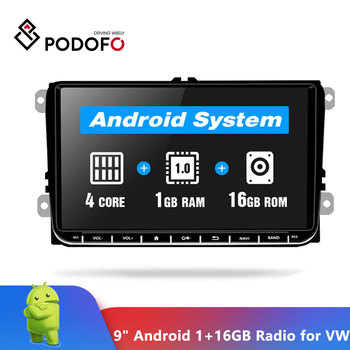 Podofo 9 Car radio Android GPS Navigation Multimedia Player Autoradio for Skoda Octavia golf 5 6 touran passat B6 polo tiguan image