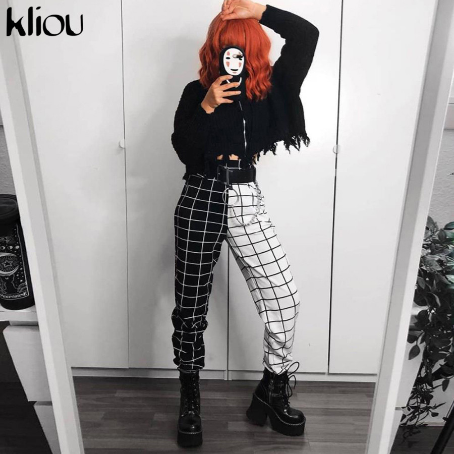 Kliou High Waist Plaid Black/white Patchwork Haroun Pants Woman 2020  Casual Loose Harajuk Streetwear Elastic Trousers Female