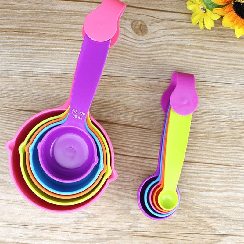 5pcs Plastic Multicolor Measuring Spoons Colorful Sugar Cake Patisserie Baking Tools Portable Kitchen Gadgets Cook Accessories