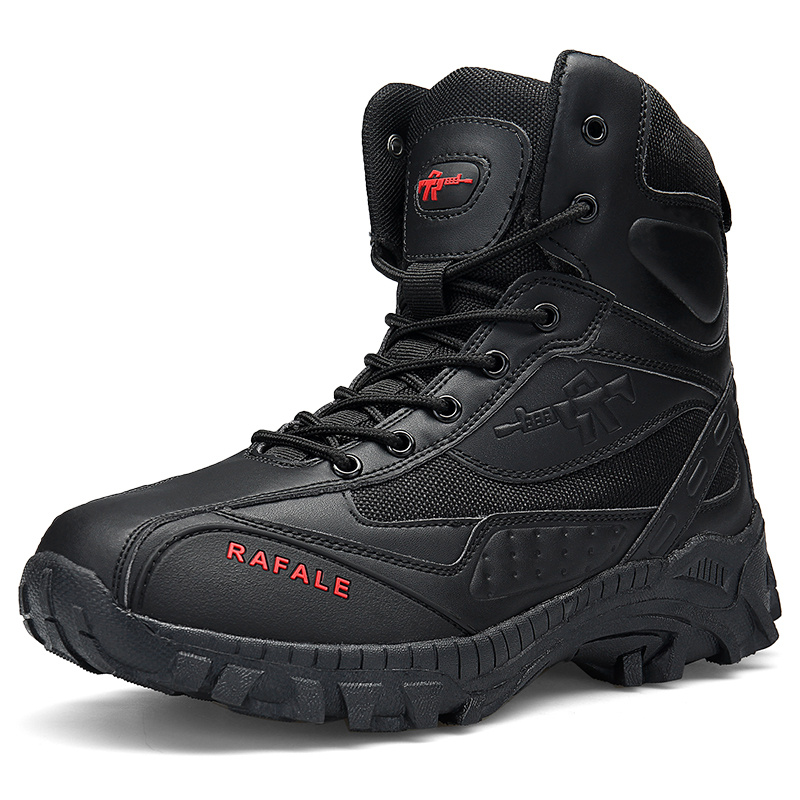 Black Leather Zipper Men Tactical Boots Army High top Outdoor Sports Hunting Shoes Men Waterproof Anti-Slippery Men Hiking Boots image