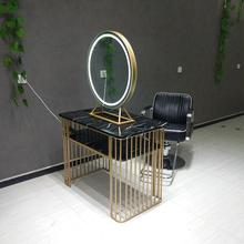 Парикмахерское зеркало в магазине, Простой Высококачественный парикмахерский салон с светлым парикмахерским зеркалом из нержавеющей стали, Европейский зеркальный стол, студийный макияж