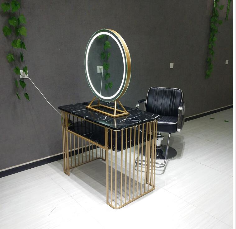 Barber Shop Mirror Simple High-end Hair Salon With Light Hairdressing Mirror Stainless Steel European Mirror Table Studio Makeup
