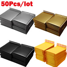 50pcs/Lot Foam Envelope Self Seal Mailers Padded Shipping Envelopes With Bubble Mailing Bag Shipping Packages Black Gold Silver