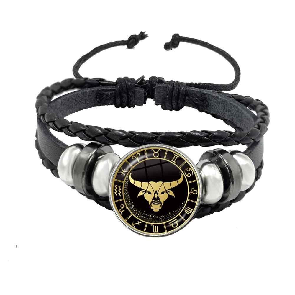 12 bransoletka ze znakiem zodiaku skorpion strzelec koziorożec Aquarius czarna lina guzik skórzany bransoletka zodiak biżuteria na prezent
