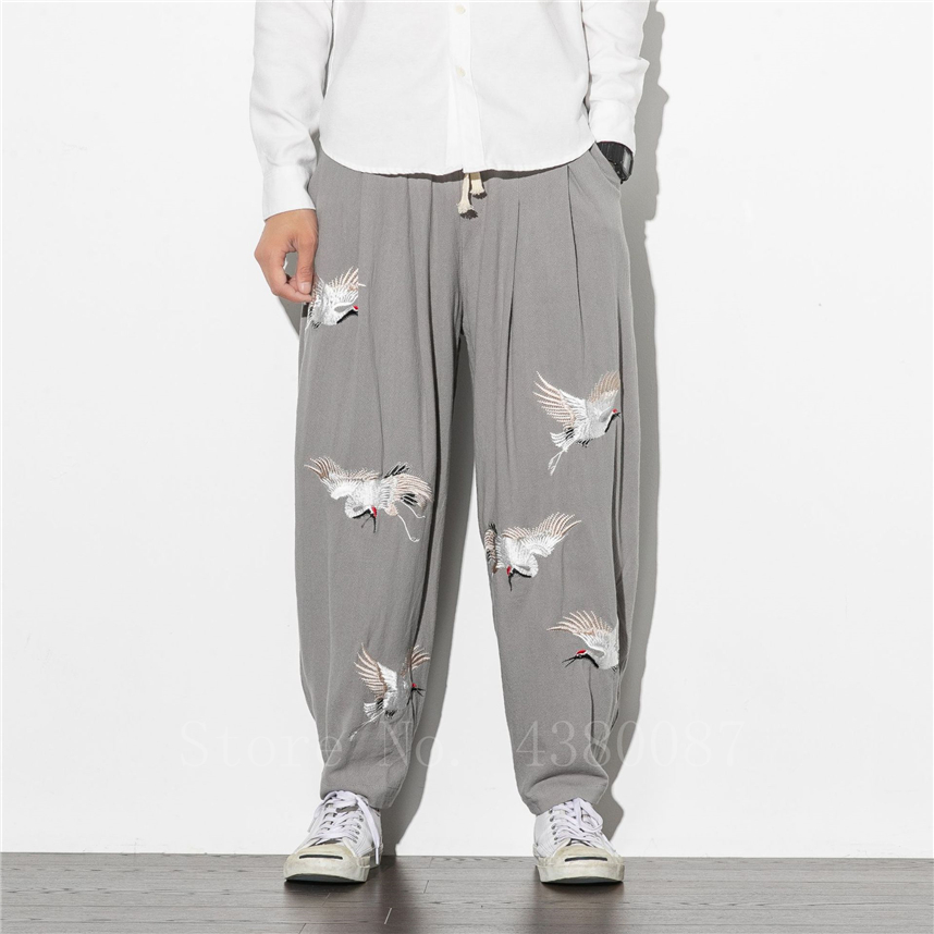 Japanese Fashion Man Wide Leg Pants Retro Crane Embroidery Loose Linen Trousers Oriental Casual Male Chinese Style Bottoms