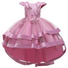 Sukienki dla dziewczynek świąteczne sukienki dla dzieci księżniczki dla dziewczynek ubrania na imprezę z kwiatami sukienki dla dziewczynek eleganckie ubrania dla dziewczynek 3-12 lat tanie tanio COTTON Kolan Crew neck Dziewczyny REGULAR Bez rękawów Śliczne Pasuje prawda na wymiar weź swój normalny rozmiar Ruffles