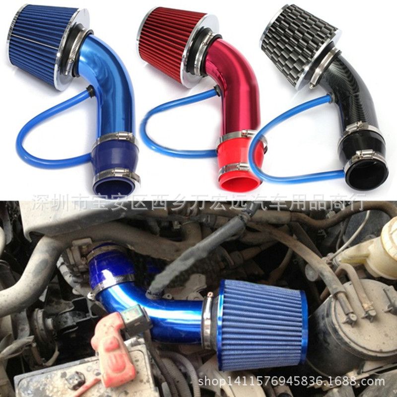 "3"" 76mm Universal Automobile Car Racing Cold Air Intake System Turbo Induction Pipe Tube With Cone Air Filter Inlet"