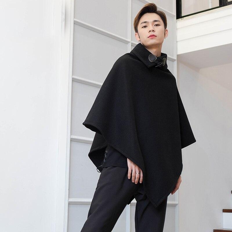 Mid-autumn and winter long fur coat Korean version of loose thin fashion men Cape Cape Cape Cape High Collar personality