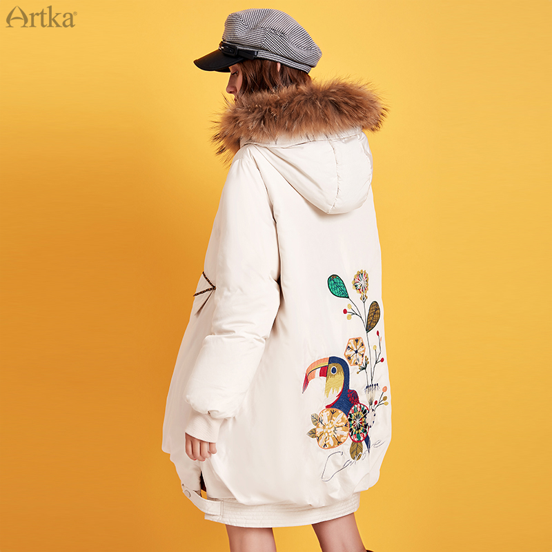ARTKA 2019 Winter New Women Cartoon Embroidery 90% White Duck Down Coat Raccoon Fur Collar Hooded Thick Loose Down Coat ZK15293D