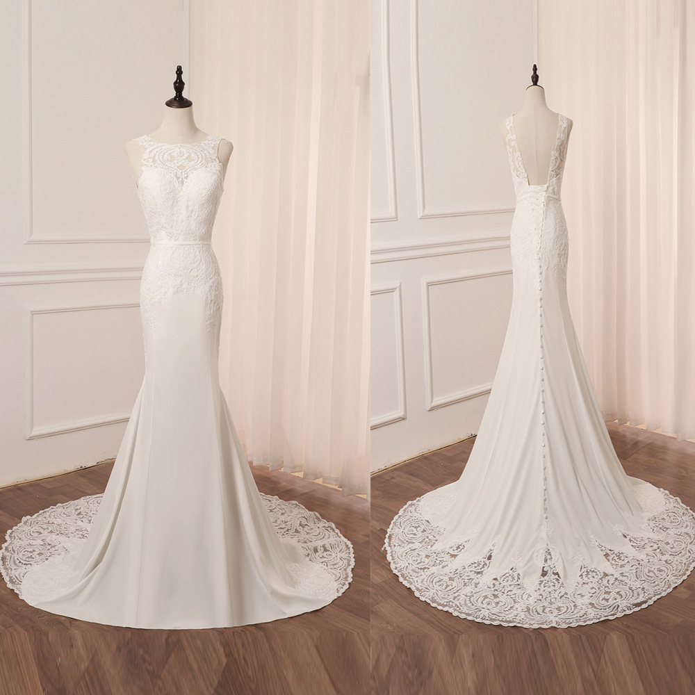 Stock Lace Mermaid Wedding Dresses O-neck Sleeveless Applique Sequin Bridal Gowns Vestido De Noiva Wedding Dress Back Lace-up
