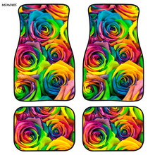 INSTANTARTS Colorful Flower Design Custom Car Floor Mats Non Slip 4pcs/Set Rubber for Cars Full Set Mat Hot