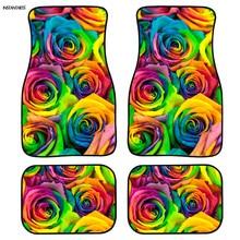 цена на INSTANTARTS Colorful Flower Design Custom Car Floor Mats Non Slip 4pcs/Set Rubber Floor Mats for Cars Full Set Car Floor Mat Hot