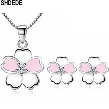 SHDEDE Fashion Necklaces Earrings Jewelry Set Cubic Zirconia Flower Womens Party Gift Classic Accessories Pink Ear Studs +WHW7 цена 2017