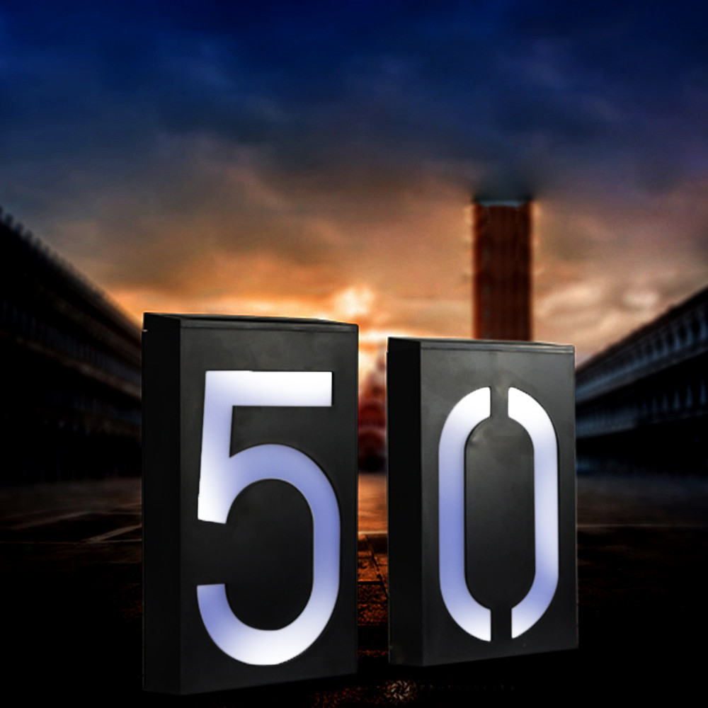 Solar Power LED Light Sign House Hotel Door Address Plaque Number Digits Plate Lampes Solaires Led Solaire Lamp Outdoor  #YL10