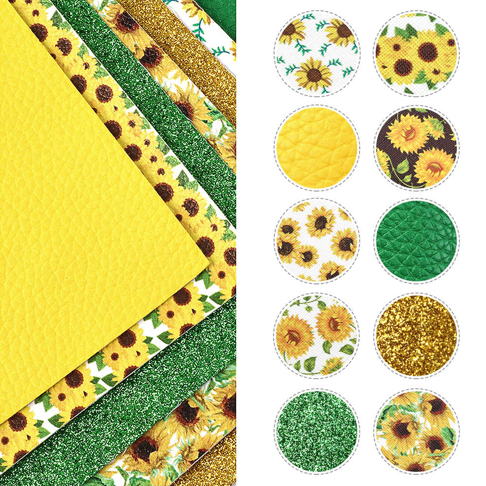 David acessórios 10 peças/set 20*34cm girassol falso tecido de couro sintético diy costura artesanal, 1yc10005