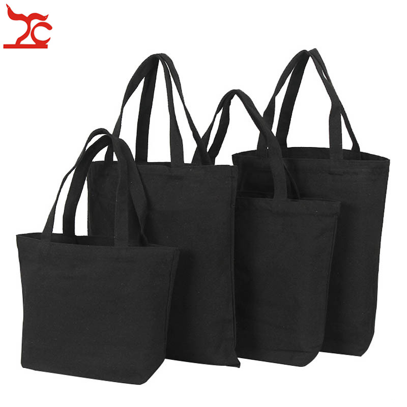 Unisex Handbags White Black Canvas Tote Bag Casual Daily Use Travel Pouch Reusable Cotton Jewelry Carry Gift Bag