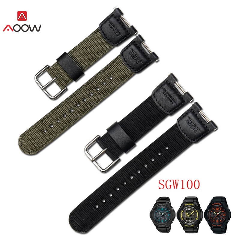 AOOW Military Green Nylon Watchband For Casio SGW-100 SGW100 Waterproof Strap Replacement Driving Sport Watch Accessories