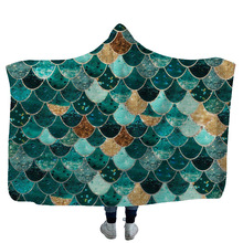 Mermaid Hooded Blanket Colorful Fish Scale 3D Printed Sherpa Fleece Warm Throw For Adults Kids Home Travel