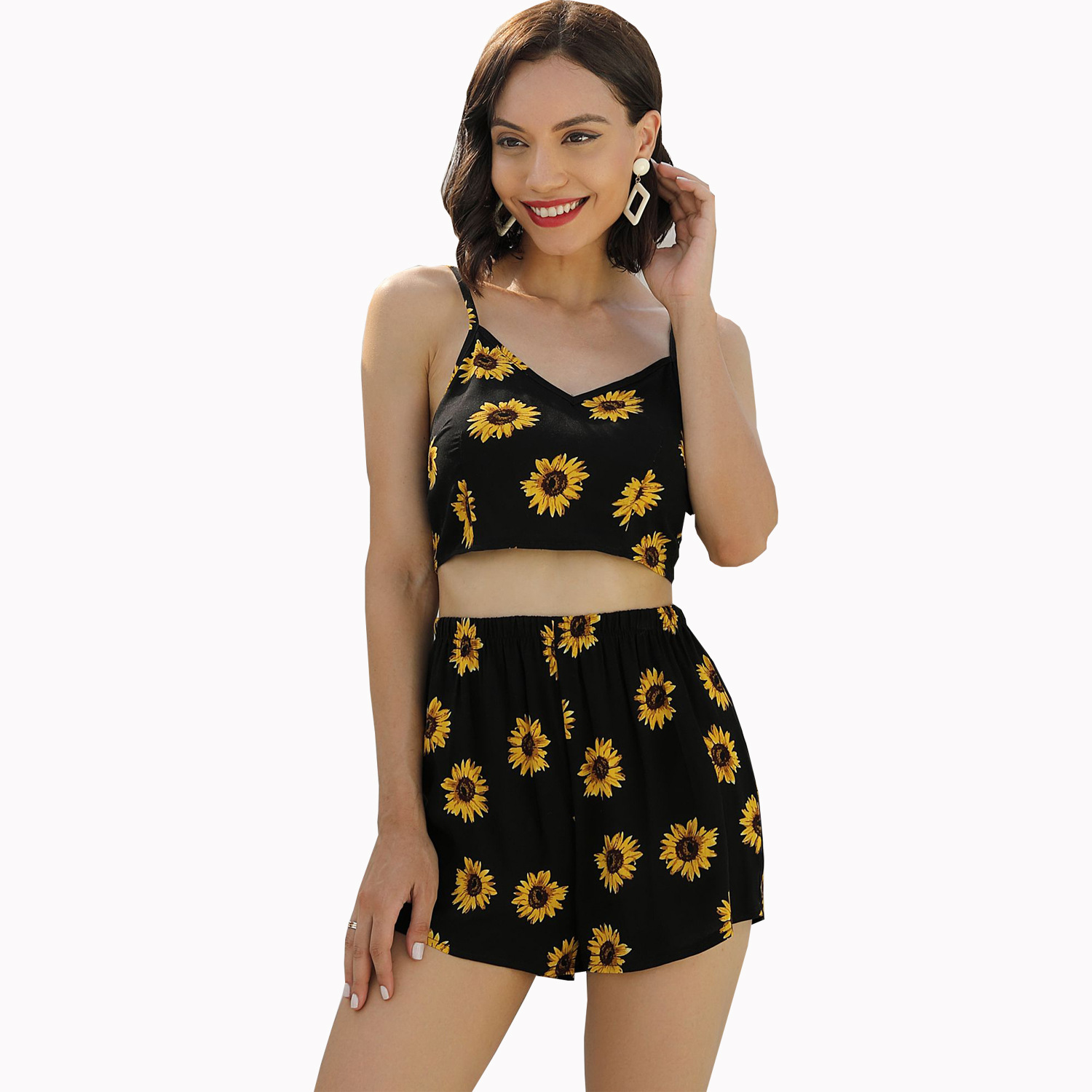 W-82028 AliExpress Amazon Europe And America Cross Border WOMEN'S Dress Holiday Printed Halter Tops Casual Short Suit