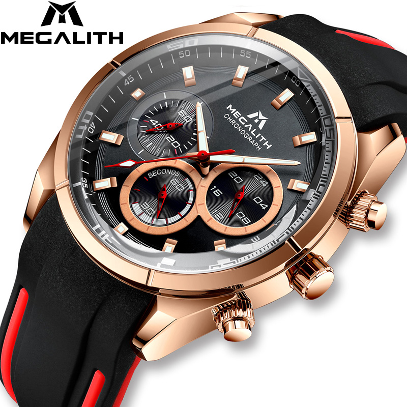 Relogio Masculino MEGALITH New Sport Chronograph Men Watch Top Brand Luxury Quartz Clock Man Waterproof Silicone Strap Watch Men