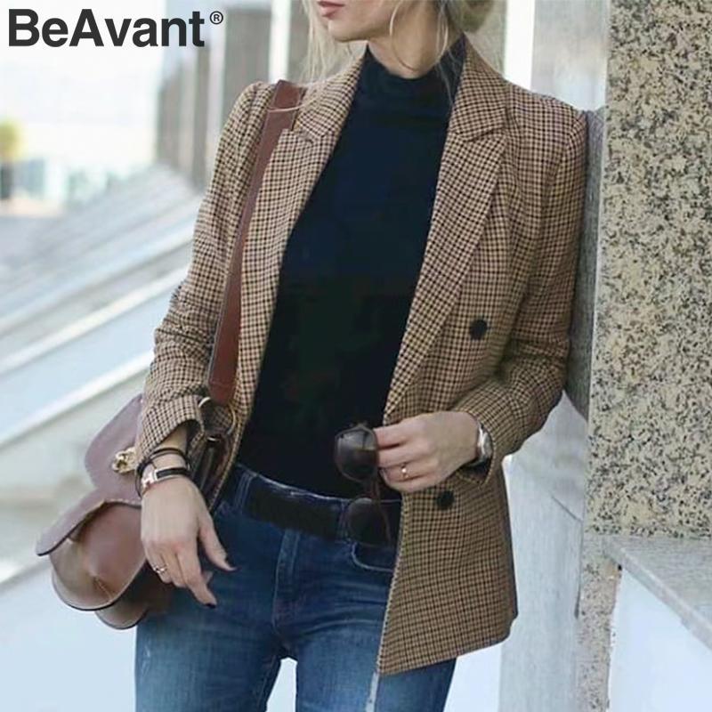 BeAvant Plaid Blazer Coat Women Long Sleeve Button Pockets Streetwear Female Blazers Autumn Winter Office Ladies Jackets