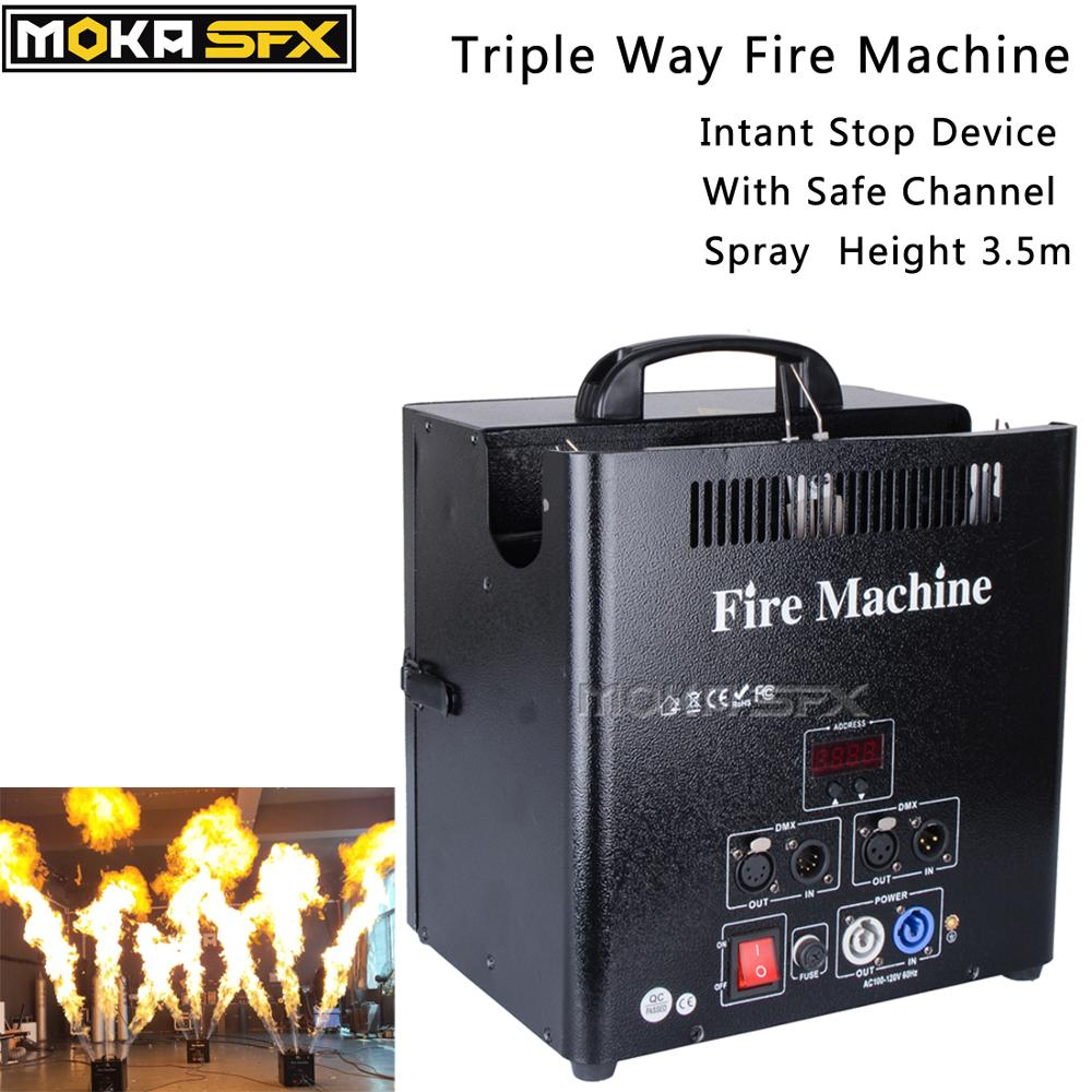Stage Triple Way Flame Projector Dmx Fire Machine Outdoor Dj Flame Machine 5 Dmx Channels High Quality Valve Lcd Display