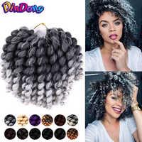 DinDong 8 ''22 stränge Jumpy Zauberstab Curl Jamaican Bounce Synthetische Flechten Haar Verlängerung Häkeln Braid Haar Für Frau