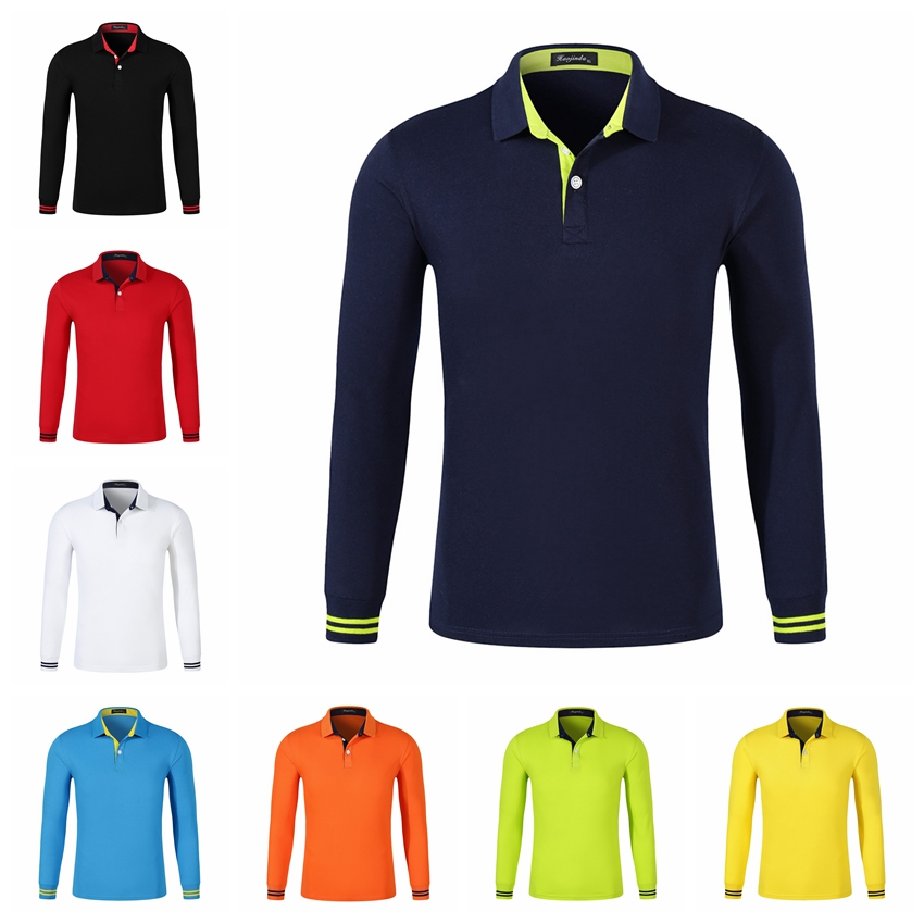High Quality Men Polo Shirt Fall Long Sleeve Solid Large Size Top Fall Polos Shirt Fashion Popular Casual Couple Clothing Custom
