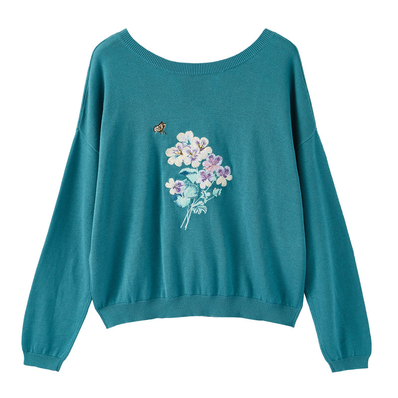 INMAN Spring Autumn O-neck Literary Embroidery Retro Casual All Matched Slim Women Pullover
