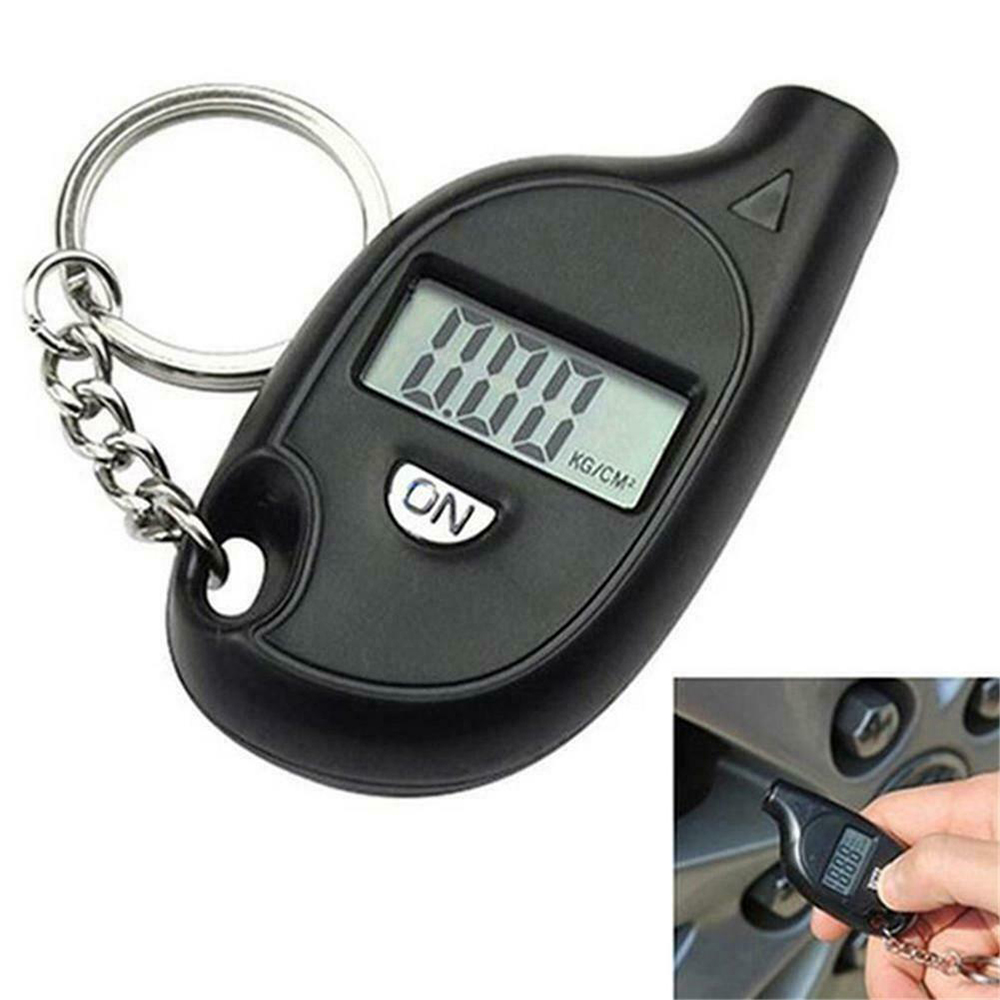 Car Bike Motor Tyre Pressure Testers Mini LCD Digital Tire Pressure Gauge TPMS Tools Air Pressure Adapter Checker With Keychain