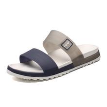 Sandalet erkekler yazlık terlik moda Peep Toe Flip flop erkek açık kaymaz düz plaj slaytlar boyutu 45