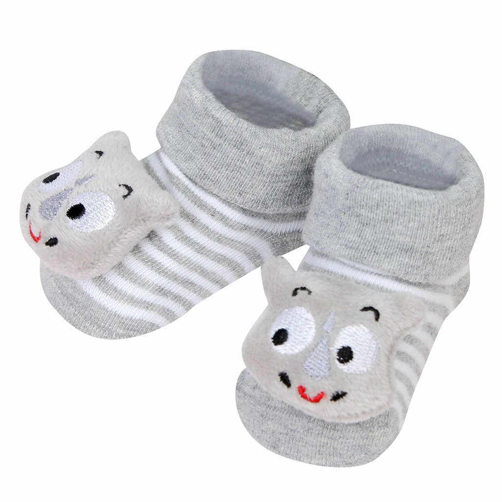 1 çift kat çorap bebek erkek kız ayakkabı yenidoğan ilk yürüyüşe çizgi film gözleri kaymaz çorap bebek adım terlik ayakkabı çorap Y108
