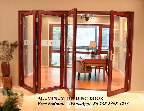 Weather Stripping Glass Interior Folding Doors,Aluminium Bi Transparent Partition Soundproof Insulated Accordion Patio