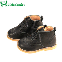 12.5 18cm Brand Toddler Boots Genuine Leather Boots Bullock Spring Autumn Winter Princess Retro Party Shoes Girls Ankle Boots